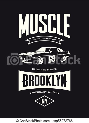 6014b5076 Vintage muscle car vector tee-shirt logo isolated on dark background. -  csp55272766