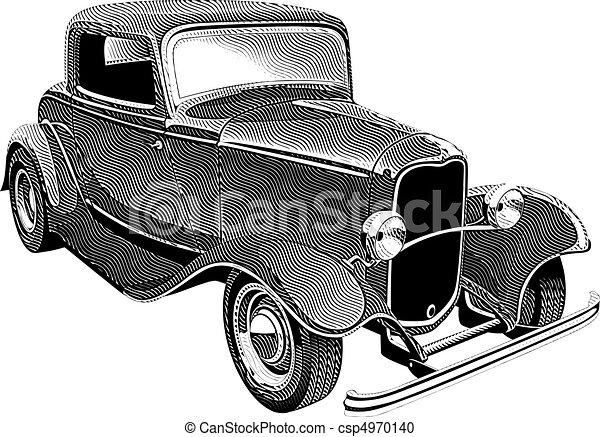 vintage muscle car_engraing - csp4970140