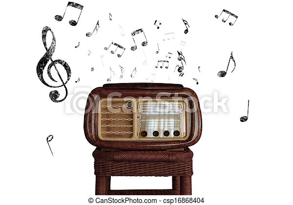 Vintage music notes with old radio - csp16868404