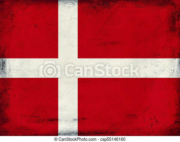 Vintage national flag of Denmark background - csp55146160
