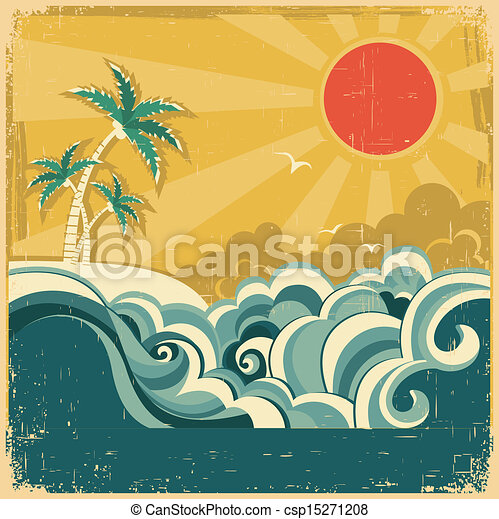 Vintage Nature Tropical Seascape Background With Palms Vector Poster For Design