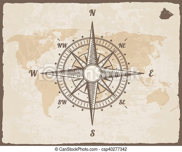 Vintage nautical compass old world map on vector paper eps vintage nautical compass old world map on vector paper texture with torn border frame wind rose gumiabroncs Gallery