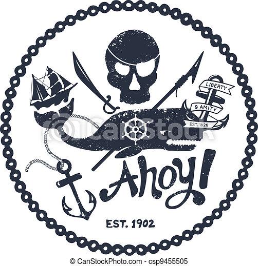 Vintage nautical illustration - csp9455505