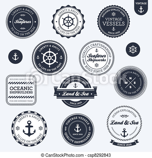 Vintage nautical labels - csp8292843