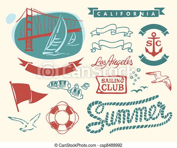 Vintage nautical set - csp8488992