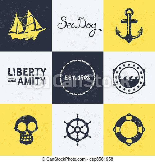 Vintage nautical symbols - csp8561958
