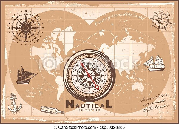 Vintage nautical world map template with compass bottle vector vintage nautical world map template csp50328286 gumiabroncs Gallery