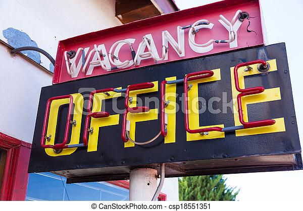 Vintage Neon Vacancy Office Sign   Csp18551351