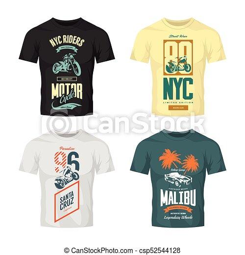 Vintage new york bikers club vector logo t-shirt mock up set. premium  quality santa cruz motorcycle logotype tee-shirt emblem illustration.  malibu roadster ... 3549bdf59b7