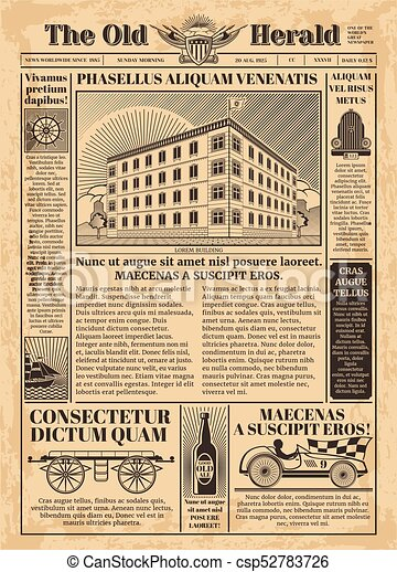 vintage newspaper vector template with newsprint text illustration of paper antique for article. Black Bedroom Furniture Sets. Home Design Ideas
