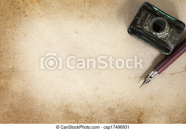 Vintage Nib Pen and Inkwell over Grunge Paper - csp17496931