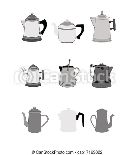 Vintage electric coffee pots, domination tattoo inmages