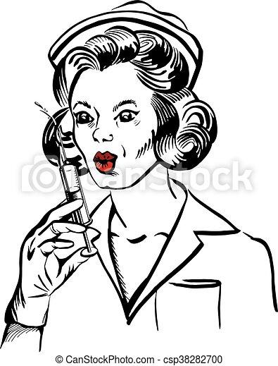 vintage nurse with syringe - csp38282700