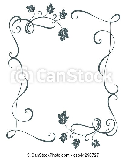 Vintage Oak Tree Leaves Floral Frame Vector Template Black And White Border Swirly Ornament