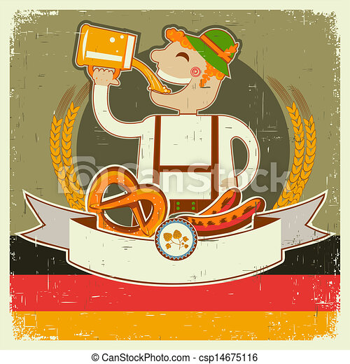vintage oktoberfest posterl with German man and beer.Vector illustration on old paper for text - csp14675116