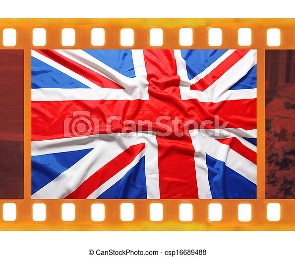 Vintage old 35mm frame photo film with uk, british flag, union jack.