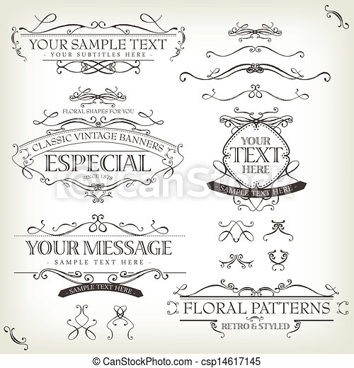 Vintage Old Labels Banners And Frame - csp14617145
