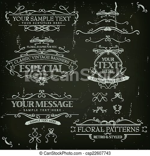 Vintage Old Labels Banners And Frame - csp22607743