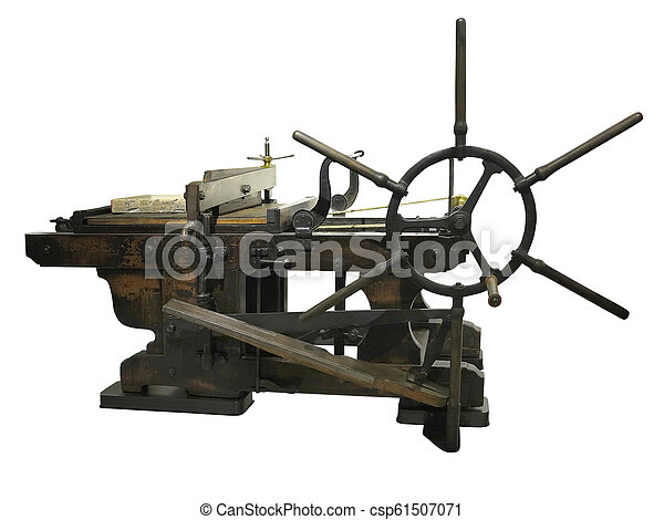 Vintage old letterpress printing manual machine isolated on white background - csp61507071