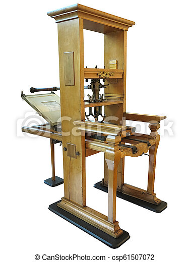 Vintage old letterpress printing manual machine isolated on white background - csp61507072