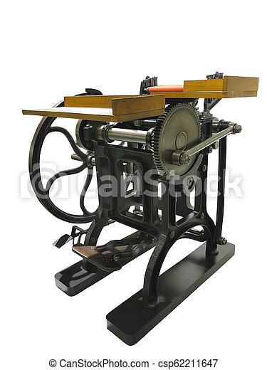 Vintage old letterpress printing manual machine isolated on white background - csp62211647