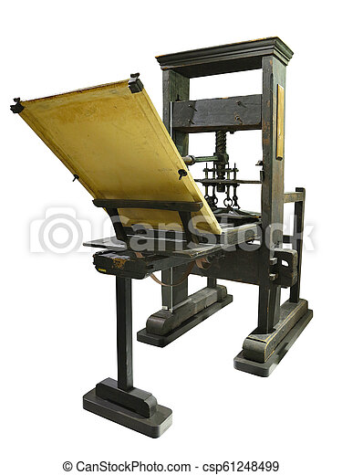 Vintage old letterpress printing manual machine isolated on white background - csp61248499