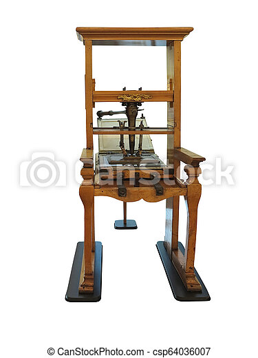 Vintage old letterpress printing manual machine isolated on white background - csp64036007