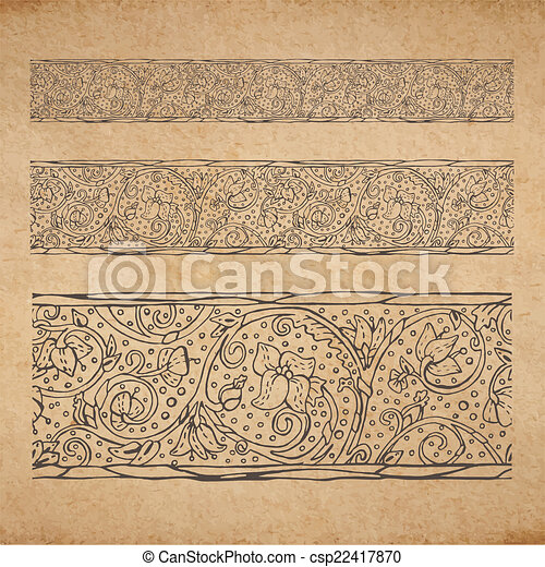 Vintage old paper texture background with floral ornamental seamless  border, scrapbooking victorian style decorative elements page, hand drawn  vector