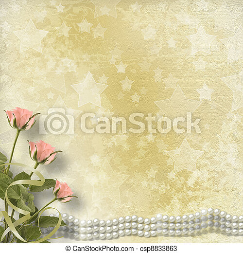 Vintage old postcard for congratulation with roses and pearls - csp8833863