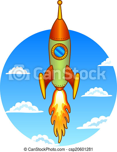 Vintage, old rocket on a sky background - csp20601281