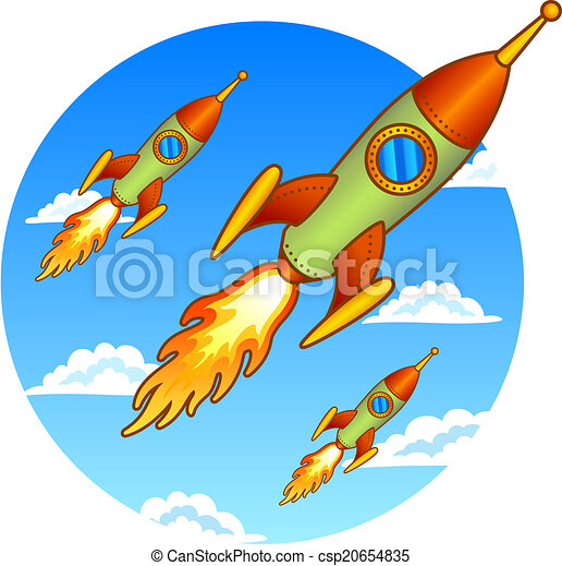 Vintage, old rockets on a sky background - csp20654835