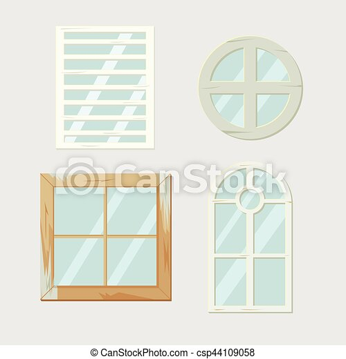 Vintage old window frame antiques vector.