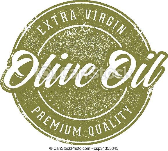Vintage Olive Oil Stamp - csp34355845