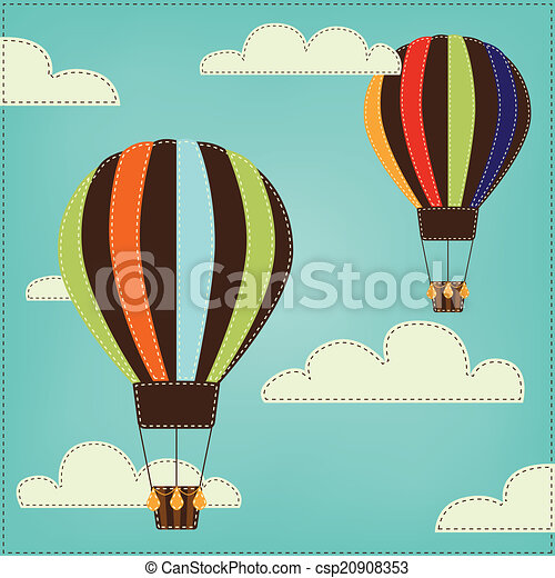 Vintage or retro hot air balloon in sky with clouds - csp20908353