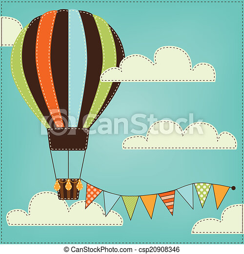 Vintage or retro hot air balloon in sky with clouds - csp20908346