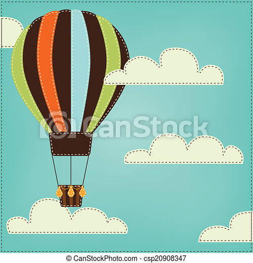 Vintage or retro hot air balloon in sky with clouds - csp20908347