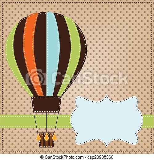Vintage  or retro hot air balloon on polka dot background - csp20908360