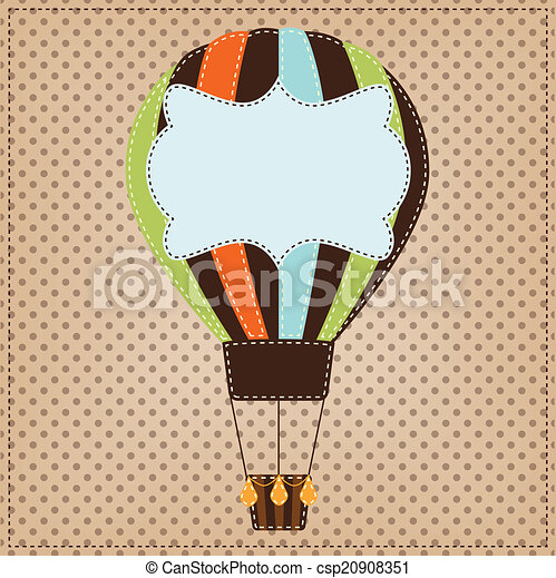 Vintage or retro hot air balloon on polka dot background - csp20908351