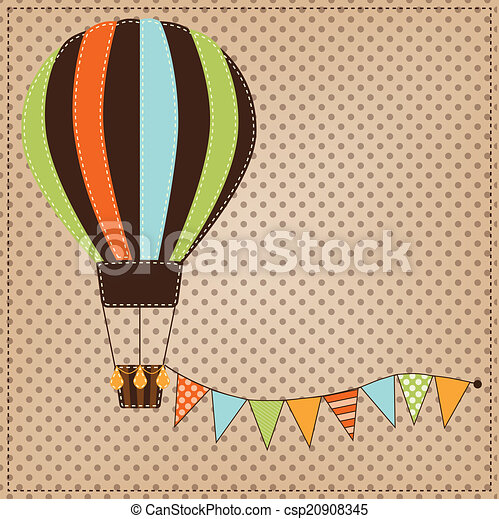 Vintage or retro hot air balloon on polka dot background - csp20908345