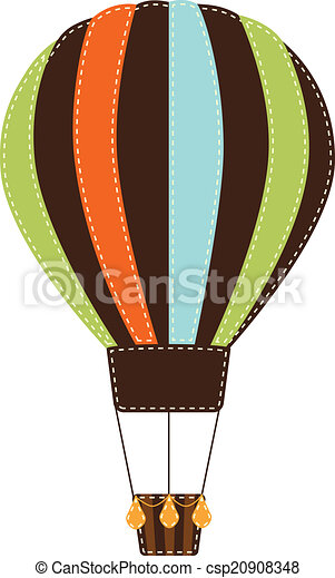 Vintage or retro hot air balloon on transparent background - csp20908348