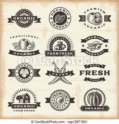 Vintage organic harvest stamps set - csp12871601