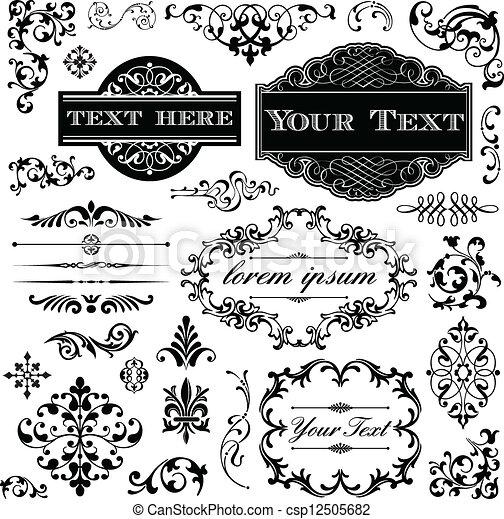 Vintage Ornament Calligraphy Set - csp12505682