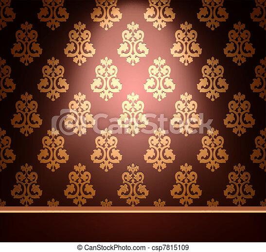 Vintage ornament gold background. Vector - csp7815109