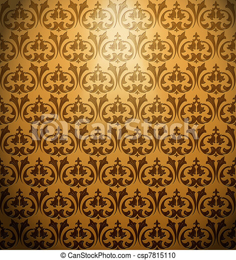 Vintage ornament gold background. Vector - csp7815110