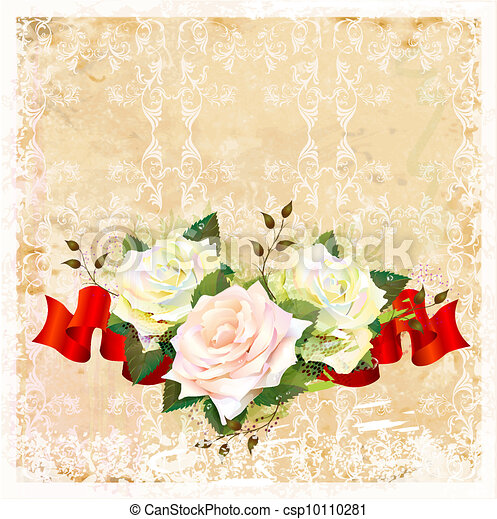 vintage  ornamental background with roses and ribbon - csp10110281