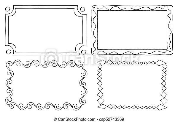 Vintage ornamental frames in linear graphic style. Vintage ...