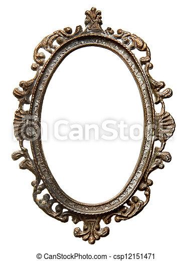 Vintage oval frame. Vintage metal oval frame isolated on white ...