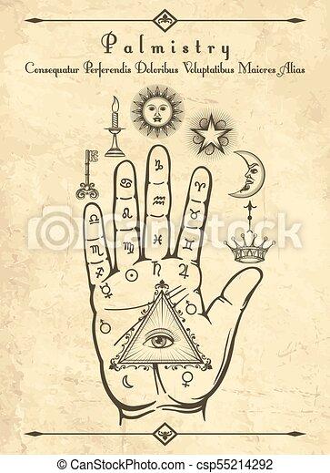 Vintage palmistry symbols on hand - csp55214292