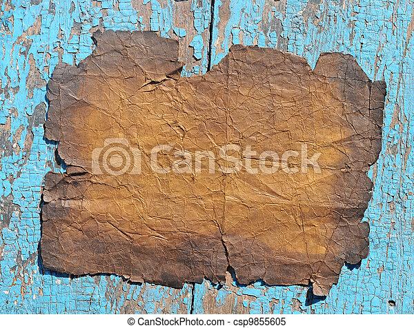 vintage paper on old wood texture - csp9855605
