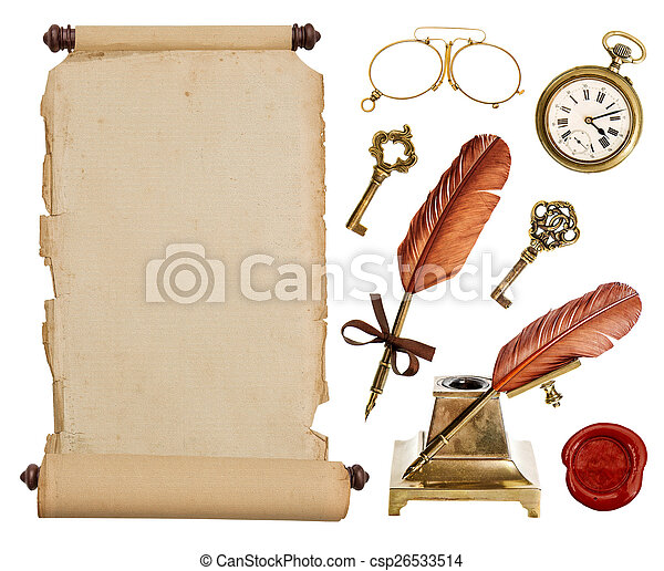 vintage paper scroll and antique accessories - csp26533514